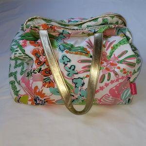 Lilly Pulitzer Gold Trim Tropical Floral Beach Bag
